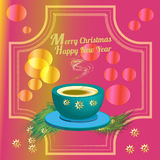 Cup of coffee and christmas decoration. Royalty Free Stock Photos
