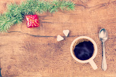 Cup of coffee with christmas decoration III Royalty Free Stock Photo