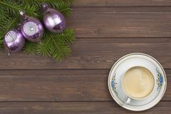 Cup of coffee and Christmas. Royalty Free Stock Photography