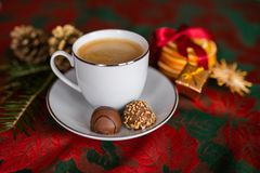 A cup of coffee on christmas festive table