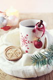 Cup of coffee and christmas sugar cookies Royalty Free Stock Photo