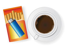 Cup of coffee and cigarette in box Stock Images
