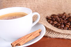 Cup of coffee with cinnamon Royalty Free Stock Photos