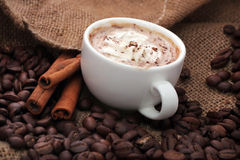Cup of coffee with cinnamon Royalty Free Stock Image