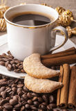 Cup of coffee with cinnamon stock photography