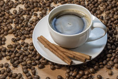 A cup of coffee. With cinnamon royalty free stock photos