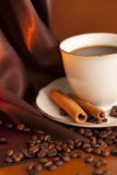 Cup of coffee with cinnamon and beans Stock Images