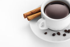 Cup of coffee with cinnamon and beans. Cup of coffee with cinnamon and beans on white Stock Photos