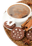 A cup of coffee, cinnamon and chocolate chip cooki Royalty Free Stock Photo