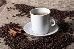 Cup of coffee with cinnamon and coffee grains Stock Images