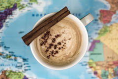 Cup of coffee with cinnamon Stock Photos