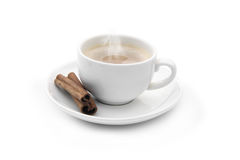 Cup of coffee with cinnamon sticks Stock Image