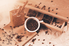 Cup of coffee and cinnamon in sunlight Royalty Free Stock Photo