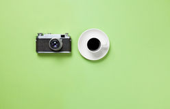 Cup of coffee and classic camera Stock Photo