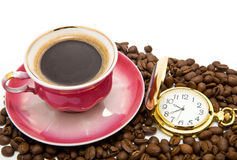 Cup of coffee and clock Royalty Free Stock Image