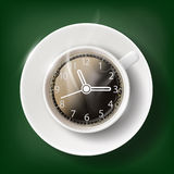 Cup of coffee with a clock face. Stock Photo