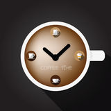 Cup of coffee with clock surface stock images