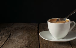 Cup of coffee closeup with thick of crema Stock Photos