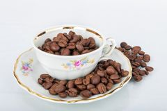 Cup of coffee. Cup of cofee with coffee beans on white background Royalty Free Stock Image