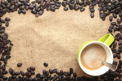 Cup of coffee  with coffee bean frame Stock Photography
