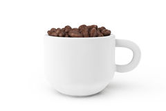 Cup of coffee with coffee bean inside Royalty Free Stock Photos