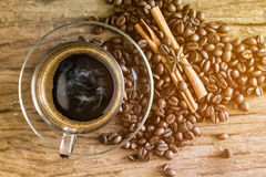 Cup of coffee and coffee bean Royalty Free Stock Photo