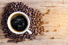 Cup of coffee and coffee bean Stock Image