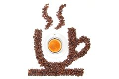 Cup of coffee from coffee beans Stock Photo