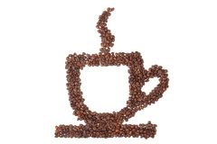 Cup of coffee from coffee beans Royalty Free Stock Photos