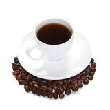 Cup of coffee with coffee beans Royalty Free Stock Images