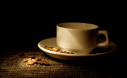 Cup of coffee and coffee beans royalty free stock image