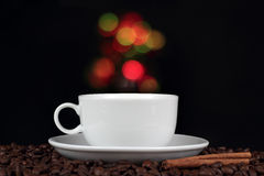 Cup of coffee with coffee beans Stock Image