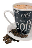 Cup of coffee and coffee beans Royalty Free Stock Images