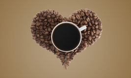 Cup of coffee on coffee beans on beige Royalty Free Stock Images