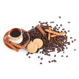 Cup of coffee, coffee beans, biscuits Royalty Free Stock Image