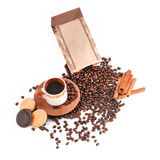 Cup of coffee, coffee beans, biscuits Royalty Free Stock Photography
