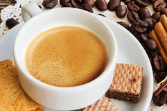 A cup of coffee with coffee beans Royalty Free Stock Photo