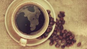 Cup of coffee with coffee beans. 1920x1080 stock footage