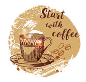 Cup of coffee and coffee beans. Hand drawn vector background in vintage style. Lettering `Start with coffee Royalty Free Stock Photos