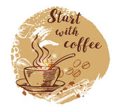 Cup of coffee and coffee beans. Hand drawn vector background in vintage style. Lettering `Start with coffee Royalty Free Stock Images