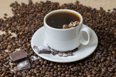 A Cup of coffee with coffee beans royalty free stock photos