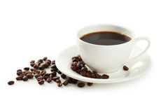 Cup of coffee with coffee beans isolated on white Stock Photography