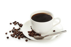 Cup of coffee with coffee beans isolated on white background Stock Photography