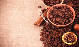 Cup of coffee on coffee beans Royalty Free Stock Photography