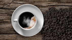 Cup of coffee and coffee beans on an old wooden table. 3D Rendering stock video