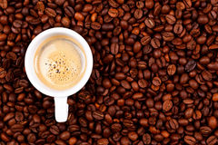 Cup of coffee on coffee beans Royalty Free Stock Photo