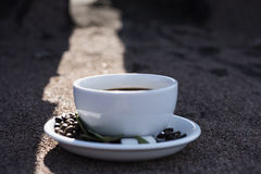 Cup of coffee, coffee beans Stock Photography