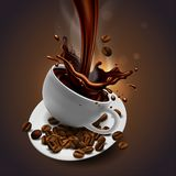 Cup of coffee, coffee beans and splash effect, high detailed re vector illustration
