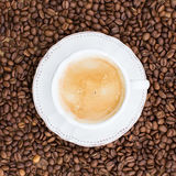 Cup of coffee, coffee beans. Top view Royalty Free Stock Image