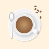 Cup of coffee and coffee beans. Royalty Free Stock Photos